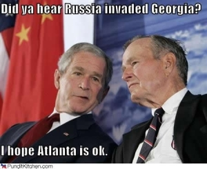 George W. Bush reacts to news that Russia invaded Georgia
