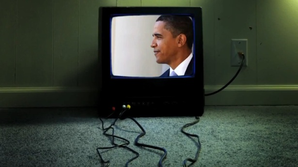 Headshot of Obama interspersed into video of Iranian President